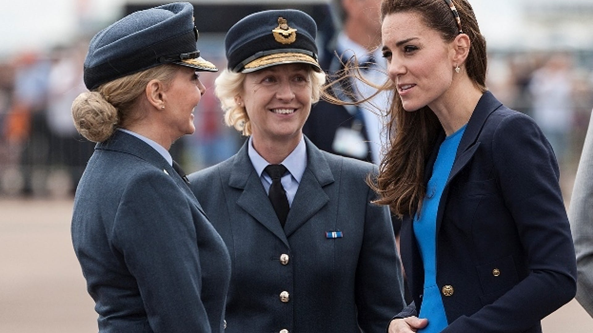 Air Commodore Dawn Mc Cafferty with Honorary Air Commandant the Duchess of Cambridge and Honorary Group Captain Carol Vorderman 1