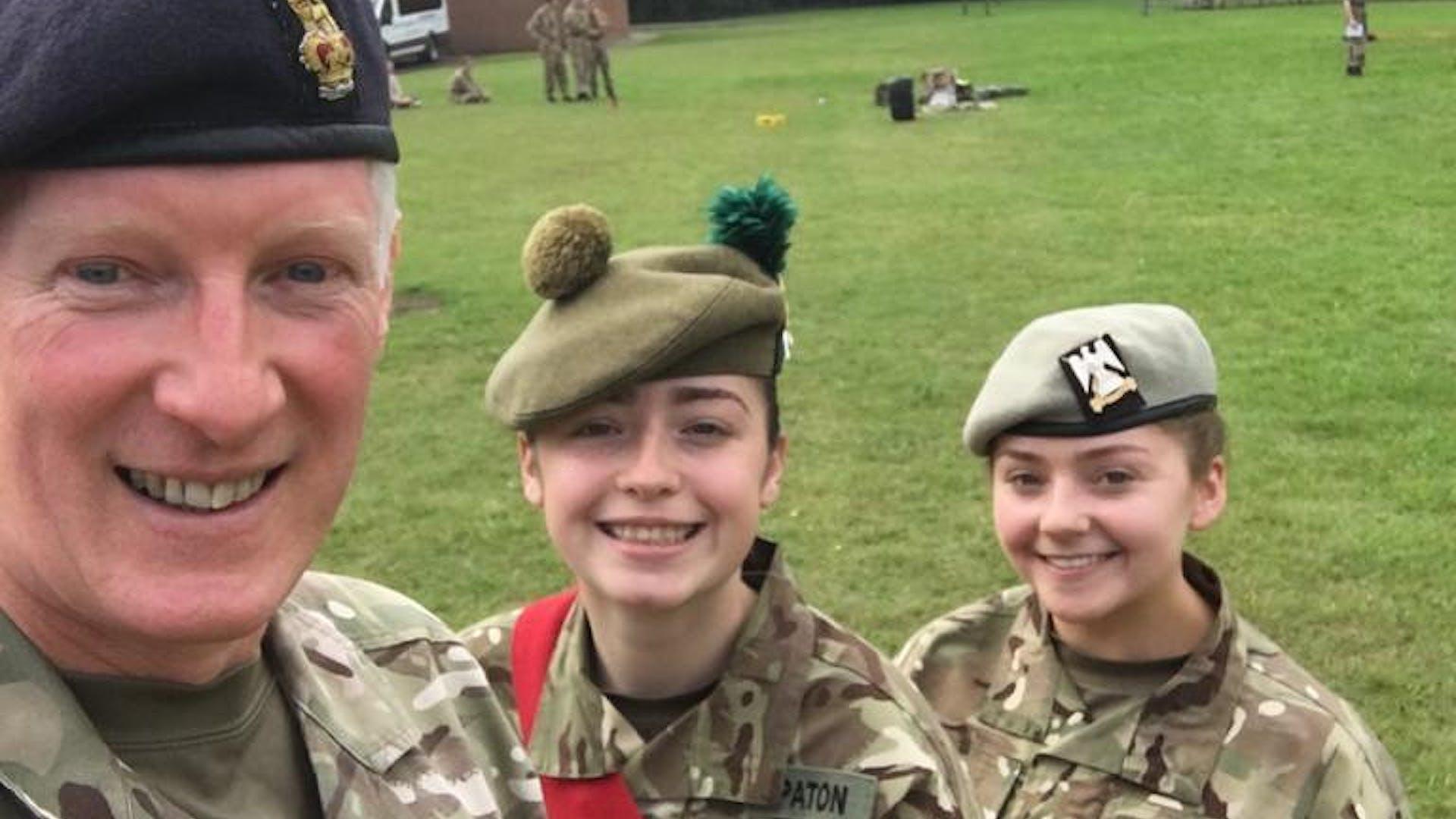 Colonel Stuart Williams meeting cadets