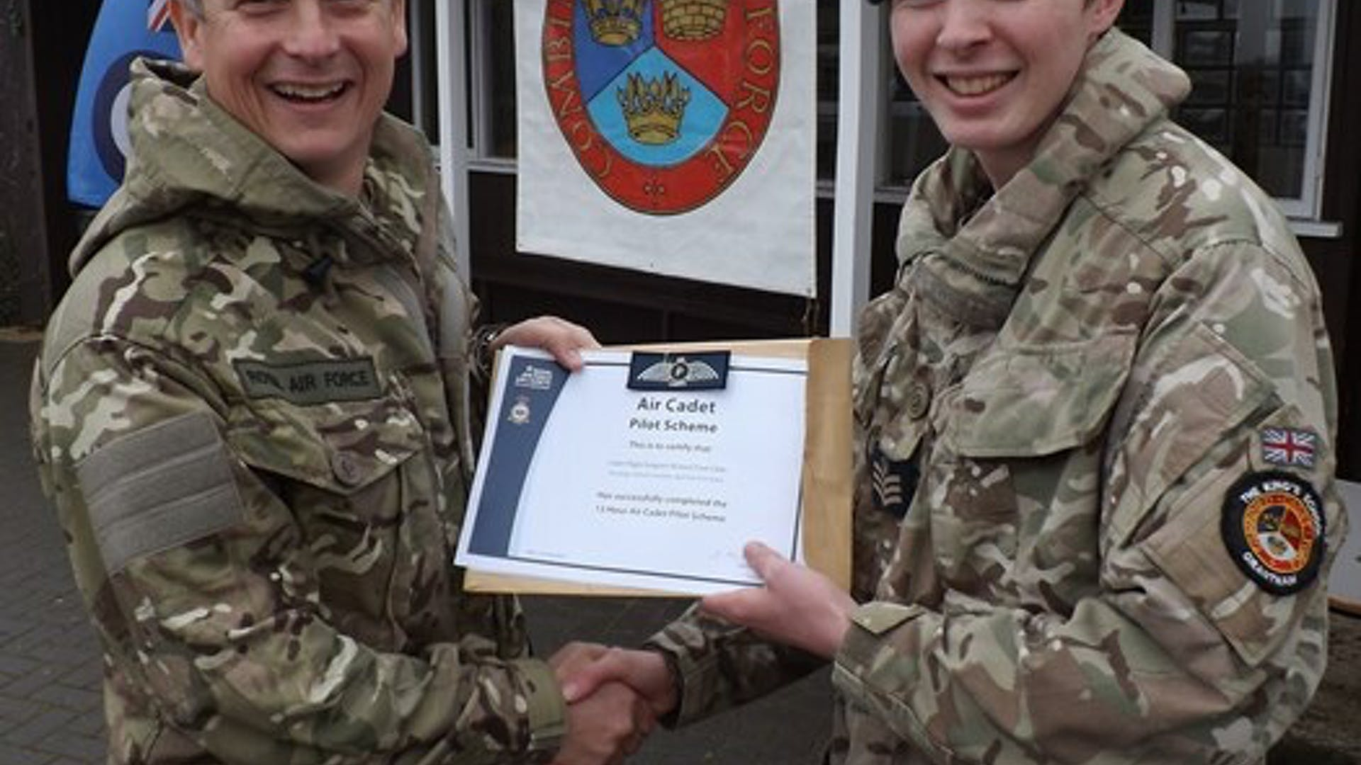 Flt Sgt Gibbs being officially presented with his Air Cadet Pilot Scheme by Air Commodore Bentley at our recent Biannual small 1