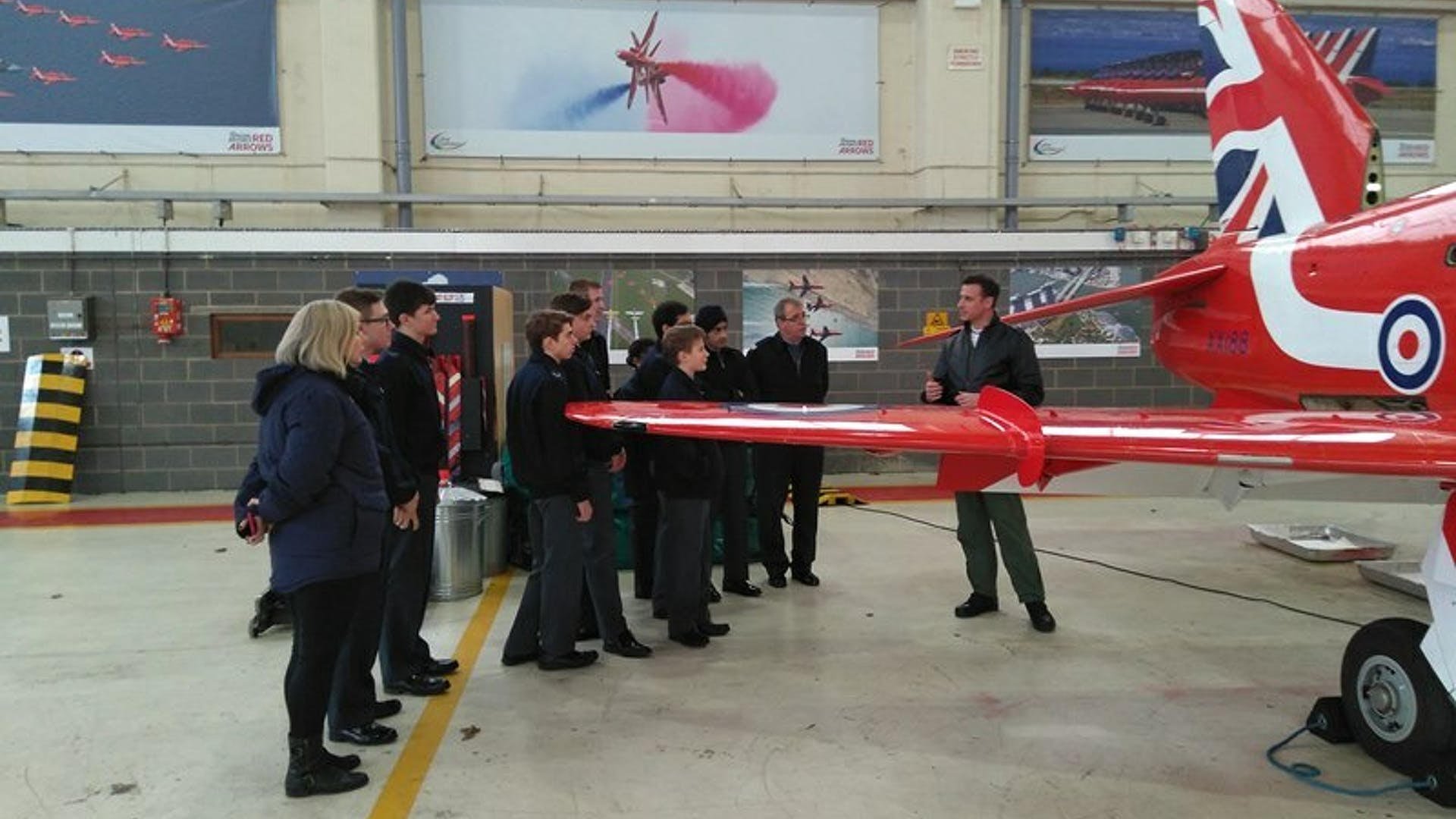 Red 10 with cadets in hangar 1